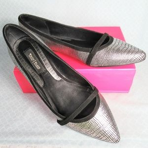 WHBM Silver Black Snakeskin Print Point Toe Flats